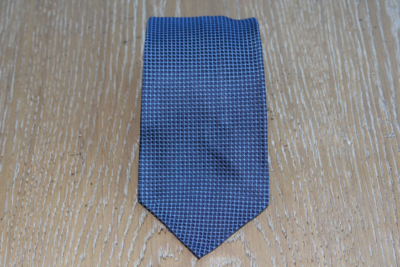 Cravatta quadrettino in seta blu