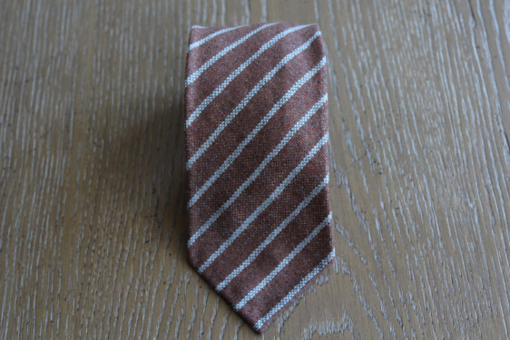 Tie cashmere brown color with gray stripes